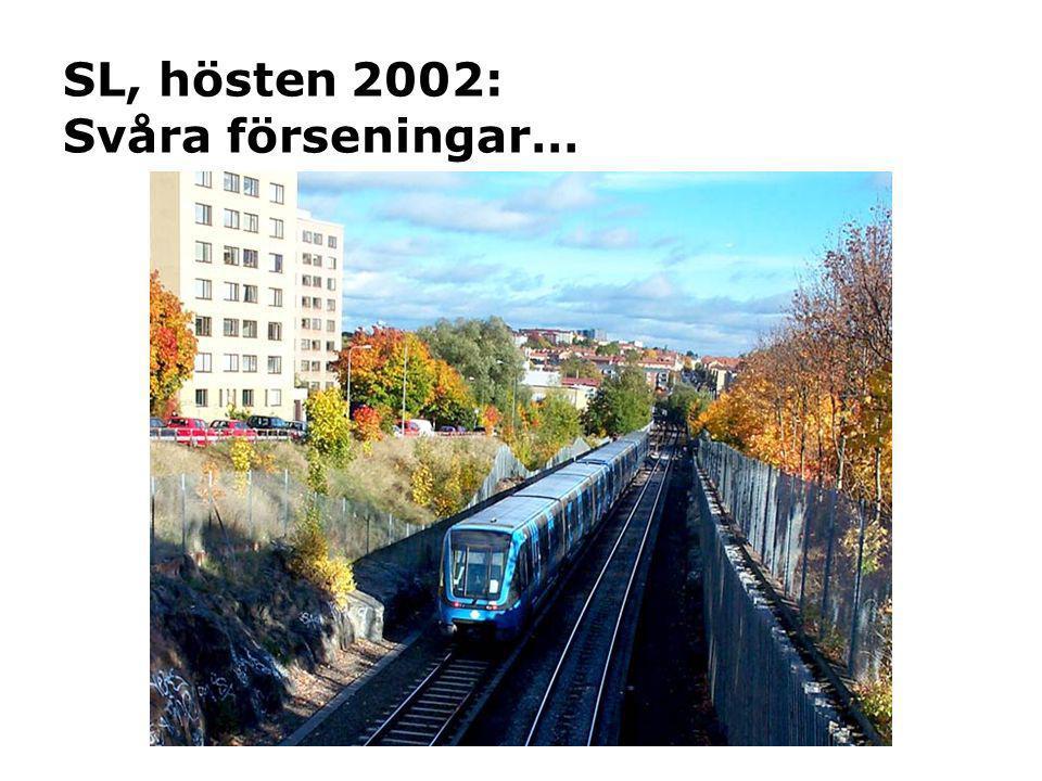 SL, hösten 2002: Svåra förseningar…