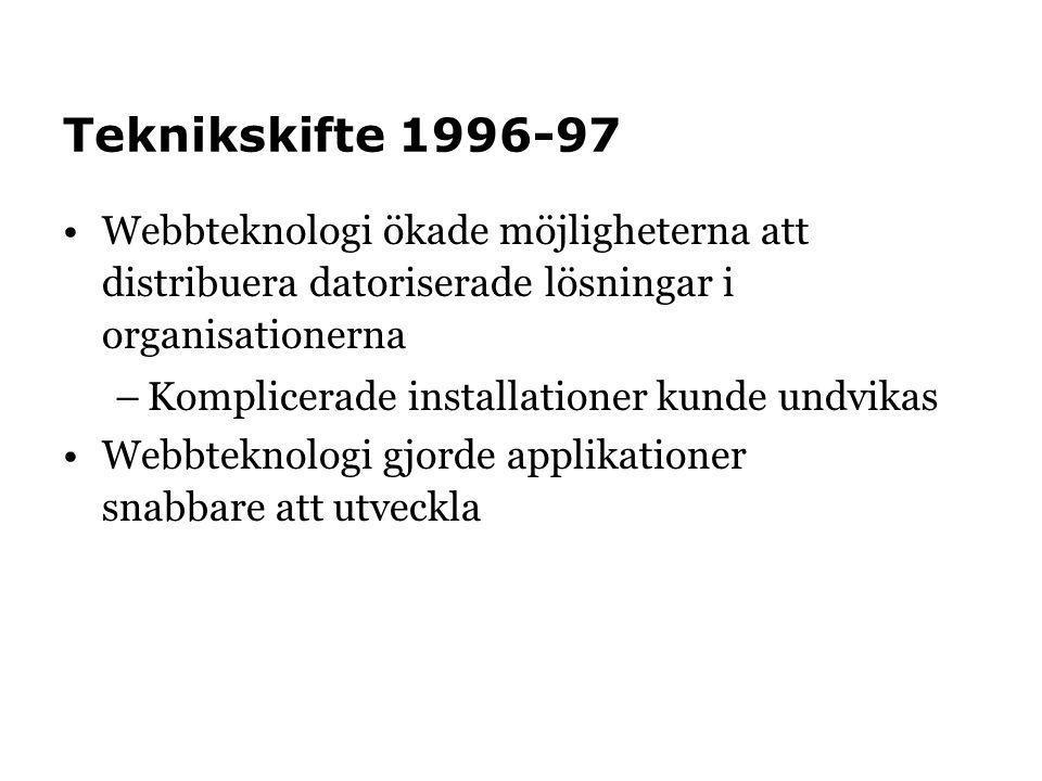 Teknikskifte 1996-97 Webbteknologi ökade möjligheterna att distribuera datoriserade lösningar i organisationerna –Komplicerade installationer kunde un