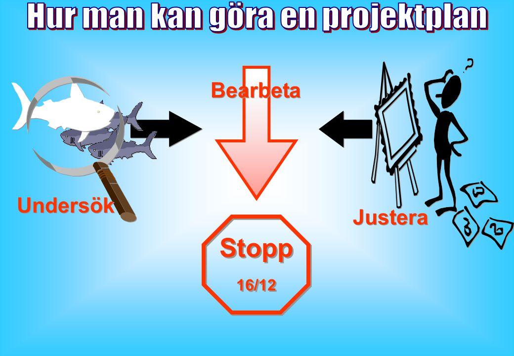 Bearbeta Justera Undersök Stopp 16/12 Stopp 16/12