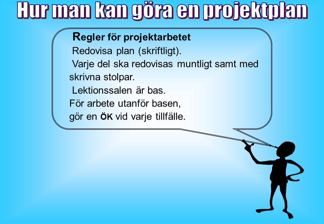R egler för projektarbetet Redovisa plan (skriftligt).