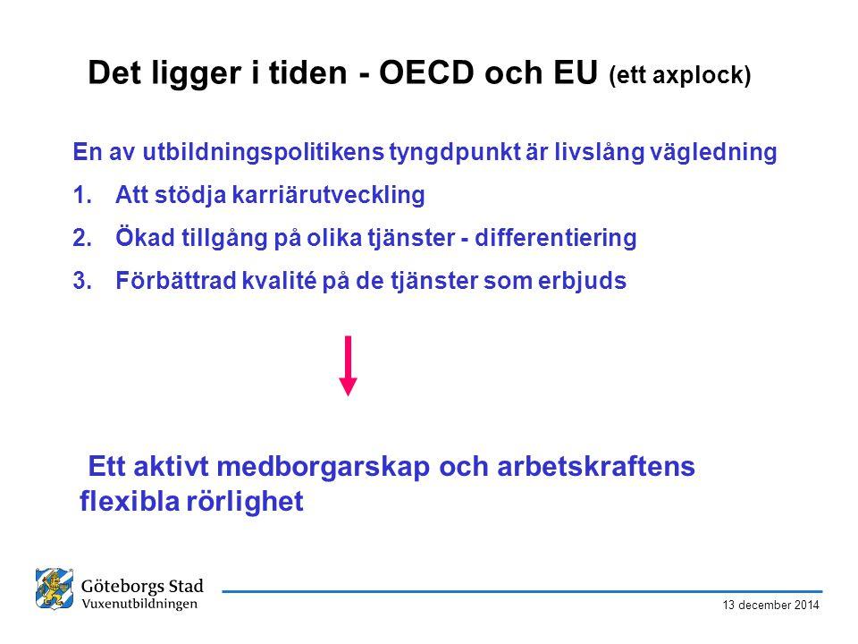 13 december 2014 Det ligger i tiden - OECD och EU (ett axplock) En av utbildningspolitikens tyngdpunkt är livslång vägledning 1.Att stödja karriärutveckling 2.Ökad tillgång på olika tjänster - differentiering 3.Förbättrad kvalité på de tjänster som erbjuds Ett aktivt medborgarskap och arbetskraftens flexibla rörlighet