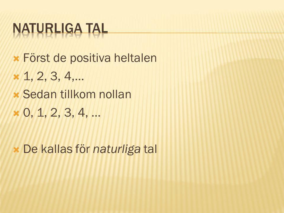  Först de positiva heltalen  1, 2, 3, 4,…  Sedan tillkom nollan  0, 1, 2, 3, 4, …  De kallas för naturliga tal