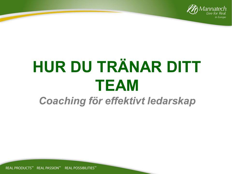 HUR DU TRÄNAR DITT TEAM Coaching för effektivt ledarskap