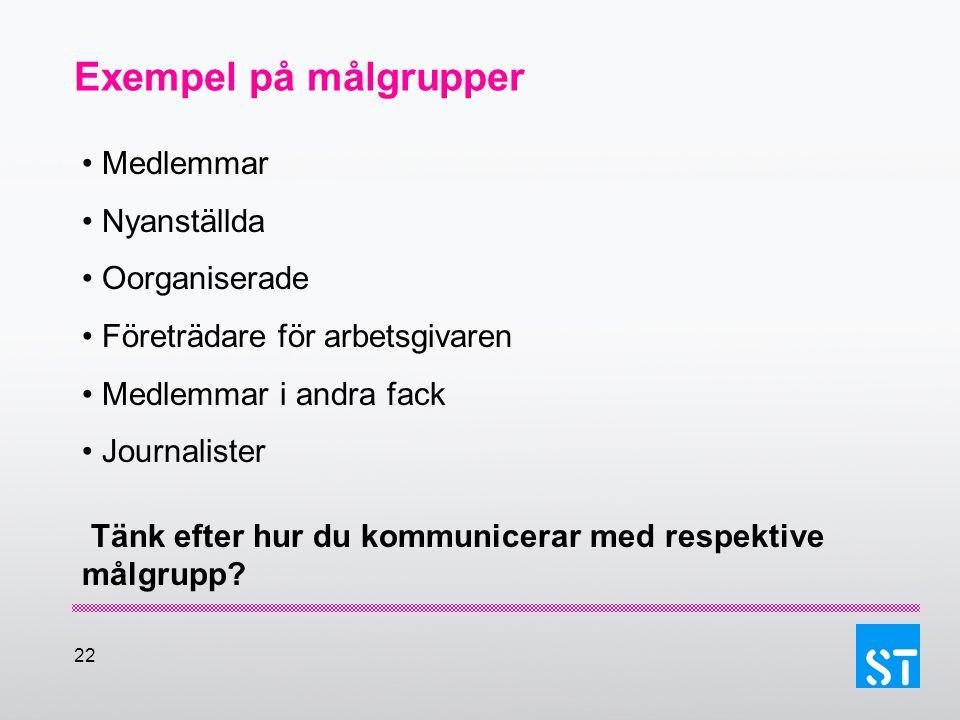 22 Exempel på målgrupper Medlemmar Nyanställda Oorganiserade Företrädare för arbetsgivaren Medlemmar i andra fack Journalister Tänk efter hur du kommu