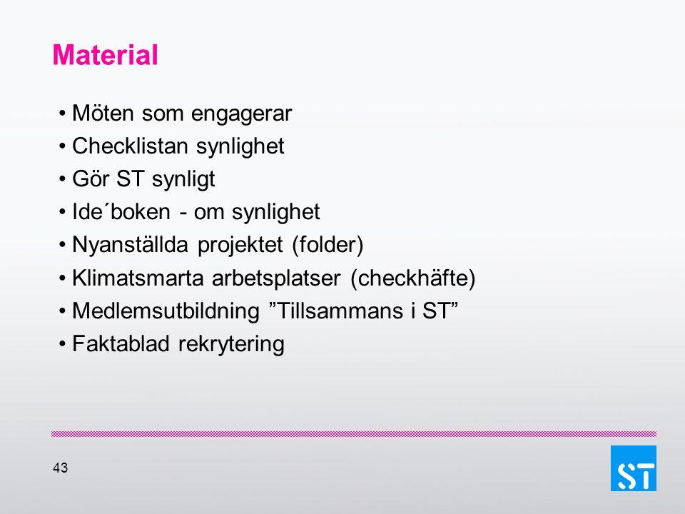 43 Material Möten som engagerar Checklistan synlighet Gör ST synligt Ide´boken - om synlighet Nyanställda projektet (folder) Klimatsmarta arbetsplatse