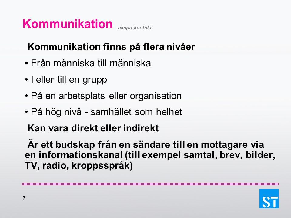7 Kommunikation skapa kontakt Kommunikation finns på flera nivåer Från människa till människa I eller till en grupp På en arbetsplats eller organisati