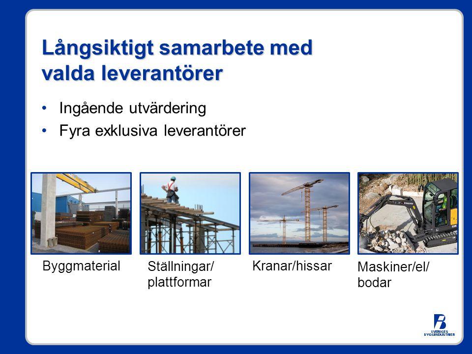 Långsiktigt samarbete med valda leverantörer Ingående utvärdering Fyra exklusiva leverantörer Byggmaterial Ställningar/ plattformar Kranar/hissar Maskiner/el/ bodar