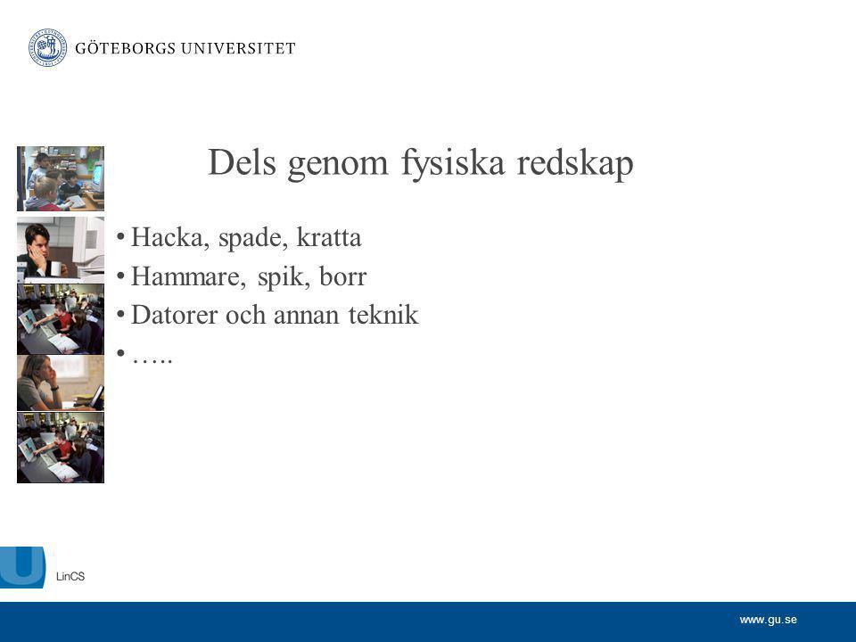 www.gu.se Dels genom fysiska redskap Hacka, spade, kratta Hammare, spik, borr Datorer och annan teknik …..