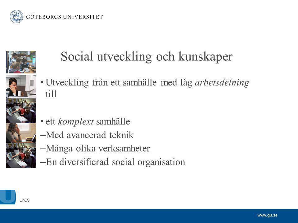 www.gu.se Social utveckling och kunskaper Utveckling från ett samhälle med låg arbetsdelning till ett komplext samhälle – Med avancerad teknik – Många