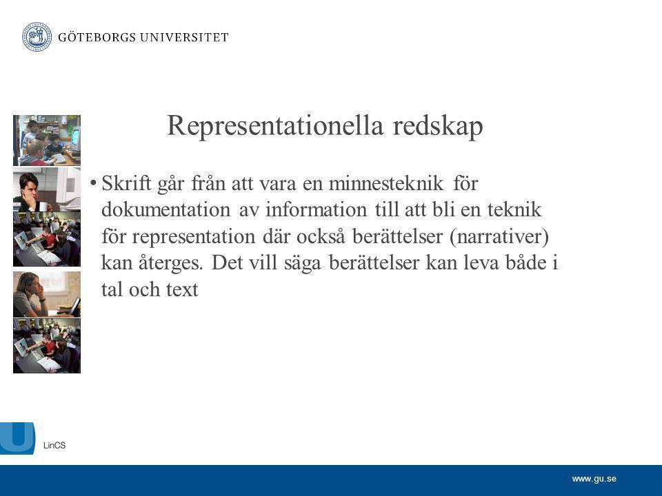 www.gu.se Representationella redskap Skrift går från att vara en minnesteknik för dokumentation av information till att bli en teknik för representati