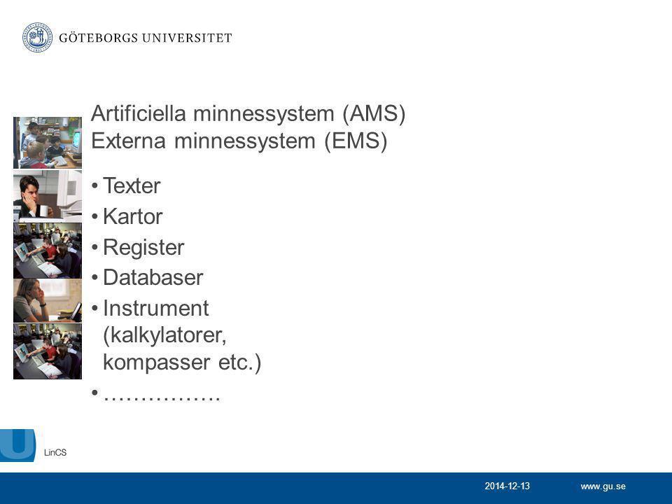 www.gu.se2014-12-13 Artificiella minnessystem (AMS) Externa minnessystem (EMS) Texter Kartor Register Databaser Instrument (kalkylatorer, kompasser et