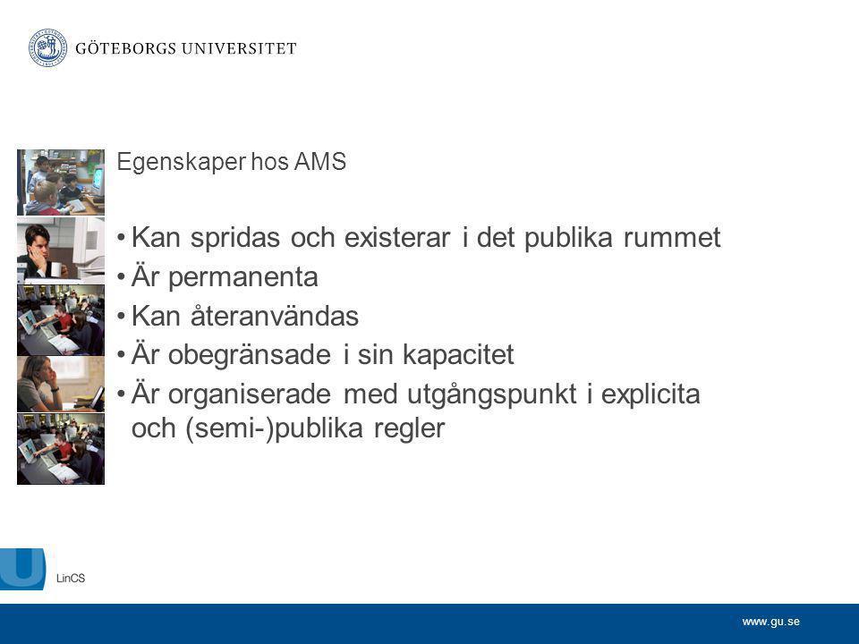 www.gu.se Egenskaper hos AMS Kan spridas och existerar i det publika rummet Är permanenta Kan återanvändas Är obegränsade i sin kapacitet Är organiser