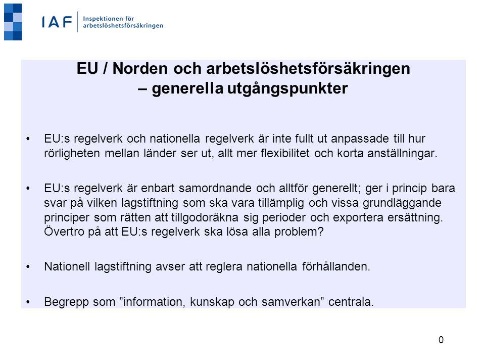 0 EU / Norden och arbetslöshetsförsäkringen – generella utgångspunkter EU:s regelverk och nationella regelverk är inte fullt ut anpassade till hur rörligheten mellan länder ser ut, allt mer flexibilitet och korta anställningar.