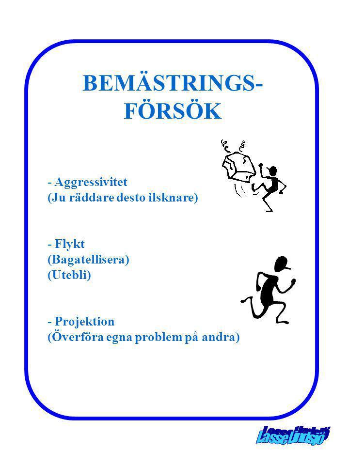 BEMÄSTRINGS- FÖRSÖK - Aggressivitet (Ju räddare desto ilsknare) - Flykt (Bagatellisera) (Utebli) - Projektion (Överföra egna problem på andra)