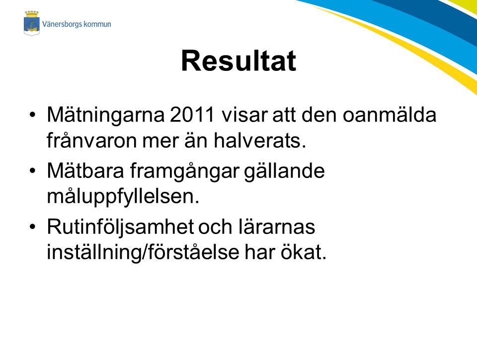 Resultat Mätningarna 2011 visar att den oanmälda frånvaron mer än halverats. Mätbara framgångar gällande måluppfyllelsen. Rutinföljsamhet och lärarnas