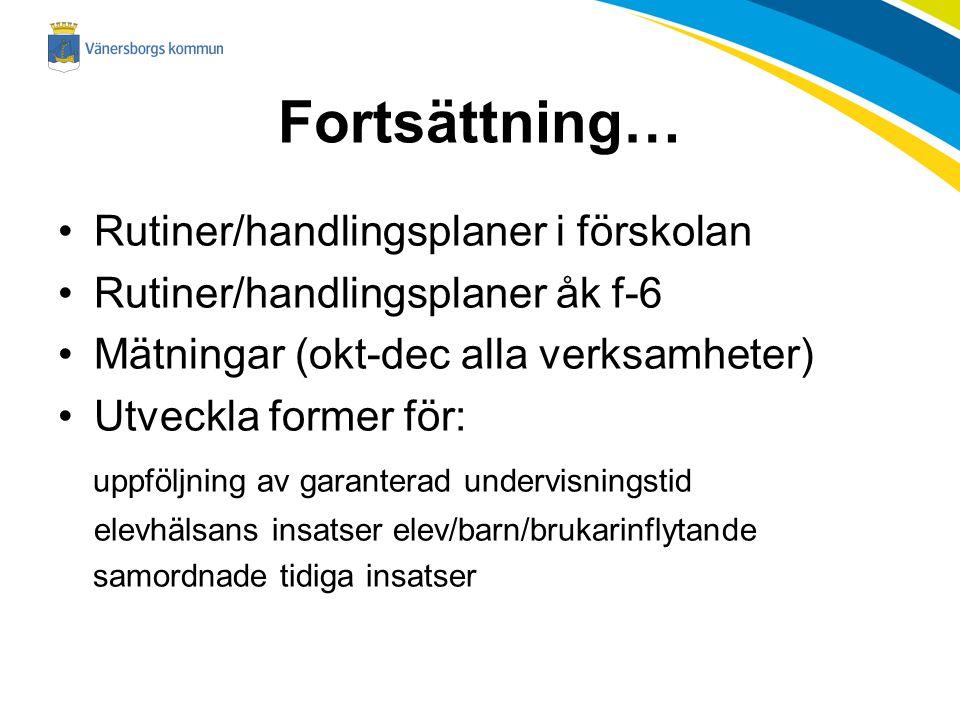 Fortsättning… Rutiner/handlingsplaner i förskolan Rutiner/handlingsplaner åk f-6 Mätningar (okt-dec alla verksamheter) Utveckla former för: uppföljnin