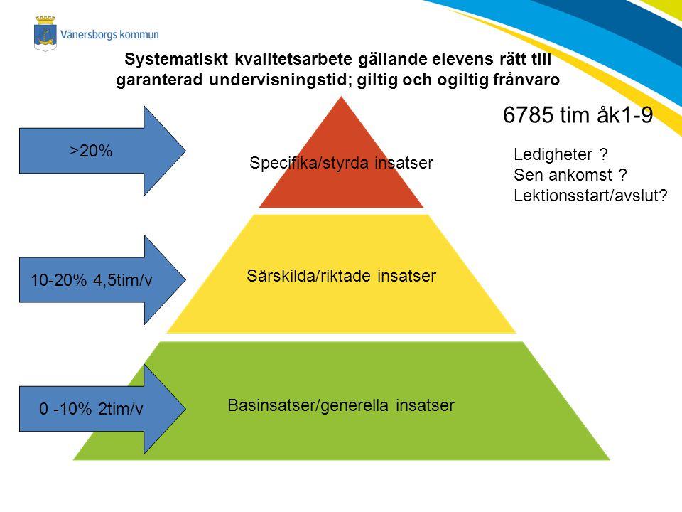 Specifika/styrda insatser Särskilda/riktade insatser Basinsatser/generella insatser Systematiskt kvalitetsarbete gällande elevens rätt till garanterad