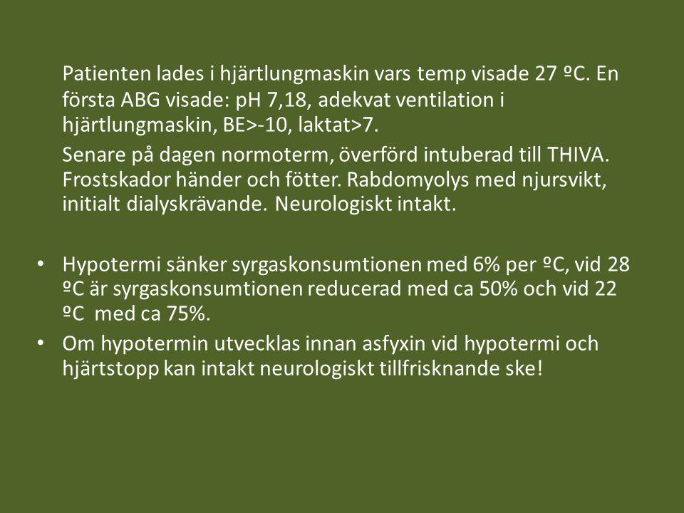 Patienten lades i hjärtlungmaskin vars temp visade 27 ºC. En första ABG visade: pH 7,18, adekvat ventilation i hjärtlungmaskin, BE>-10, laktat>7. Sena