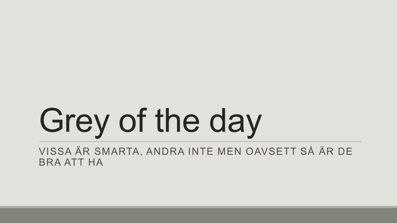 Grey of the day VISSA ÄR SMARTA, ANDRA INTE MEN OAVSETT SÅ ÄR DE BRA ATT HA