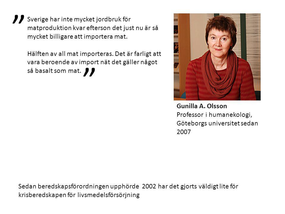 Gunilla A. Olsson Professor i humanekologi, Göteborgs universitet sedan 2007 Sverige har inte mycket jordbruk för matproduktion kvar efterson det just