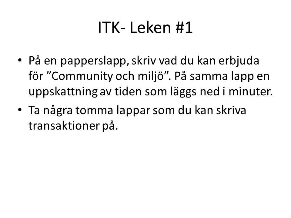 """ITK- Leken #1 På en papperslapp, skriv vad du kan erbjuda för """"Community och miljö"""". På samma lapp en uppskattning av tiden som läggs ned i minuter. T"""