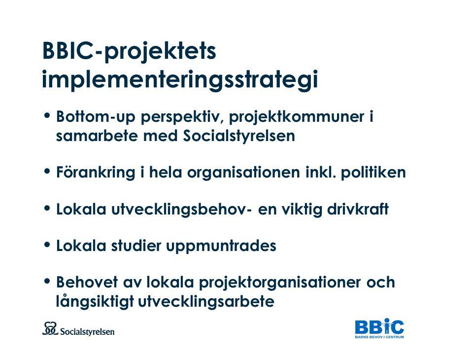 Att visa fotnot, datum, sidnummer Klicka på fliken Infoga och klicka på ikonen sidhuvud/sidfot Klistra in text: Klistra in texten, klicka på ikonen (Ctrl), välj Behåll endast text BBIC-projektets implementeringsstrategi Bottom-up perspektiv, projektkommuner i samarbete med Socialstyrelsen Förankring i hela organisationen inkl.