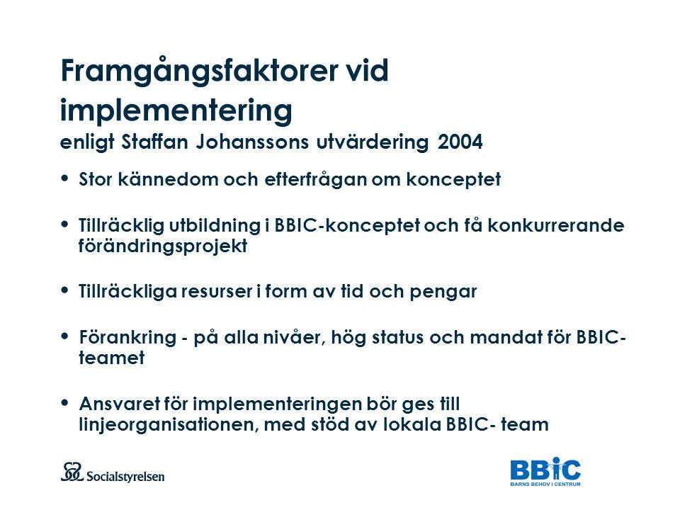 Att visa fotnot, datum, sidnummer Klicka på fliken Infoga och klicka på ikonen sidhuvud/sidfot Klistra in text: Klistra in texten, klicka på ikonen (Ctrl), välj Behåll endast text Framgångsfaktorer vid implementering enligt Staffan Johanssons utvärdering 2004 Stor kännedom och efterfrågan om konceptet Tillräcklig utbildning i BBIC-konceptet och få konkurrerande förändringsprojekt Tillräckliga resurser i form av tid och pengar Förankring - på alla nivåer, hög status och mandat för BBIC- teamet Ansvaret för implementeringen bör ges till linjeorganisationen, med stöd av lokala BBIC- team