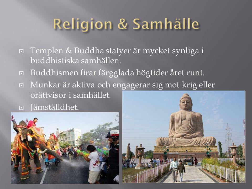  Templen & Buddha statyer är mycket synliga i buddhistiska samhällen.  Buddhismen firar färgglada högtider året runt.  Munkar är aktiva och engager
