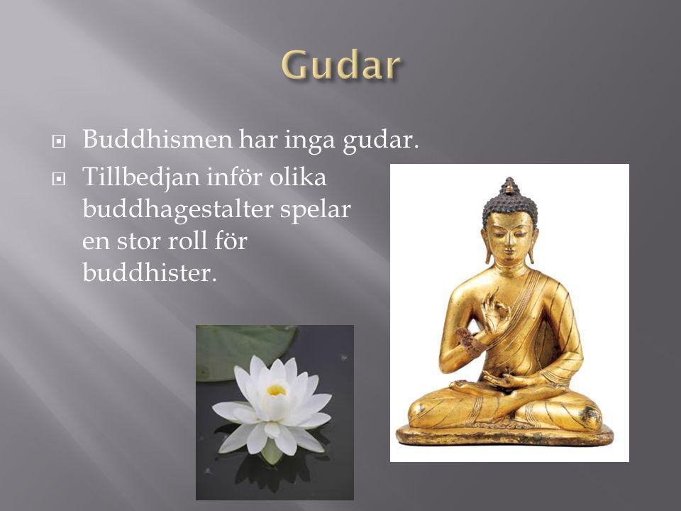  Buddhismen har inga gudar.  Tillbedjan inför olika buddhagestalter spelar en stor roll för buddhister.