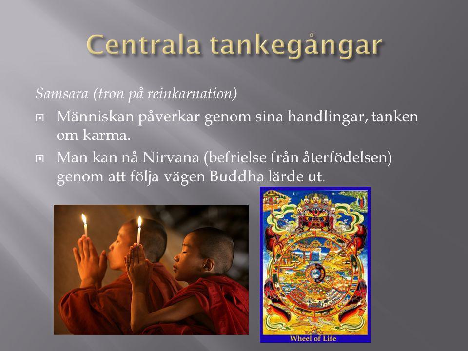 Samsara (tron på reinkarnation)  Människan påverkar genom sina handlingar, tanken om karma.  Man kan nå Nirvana (befrielse från återfödelsen) genom