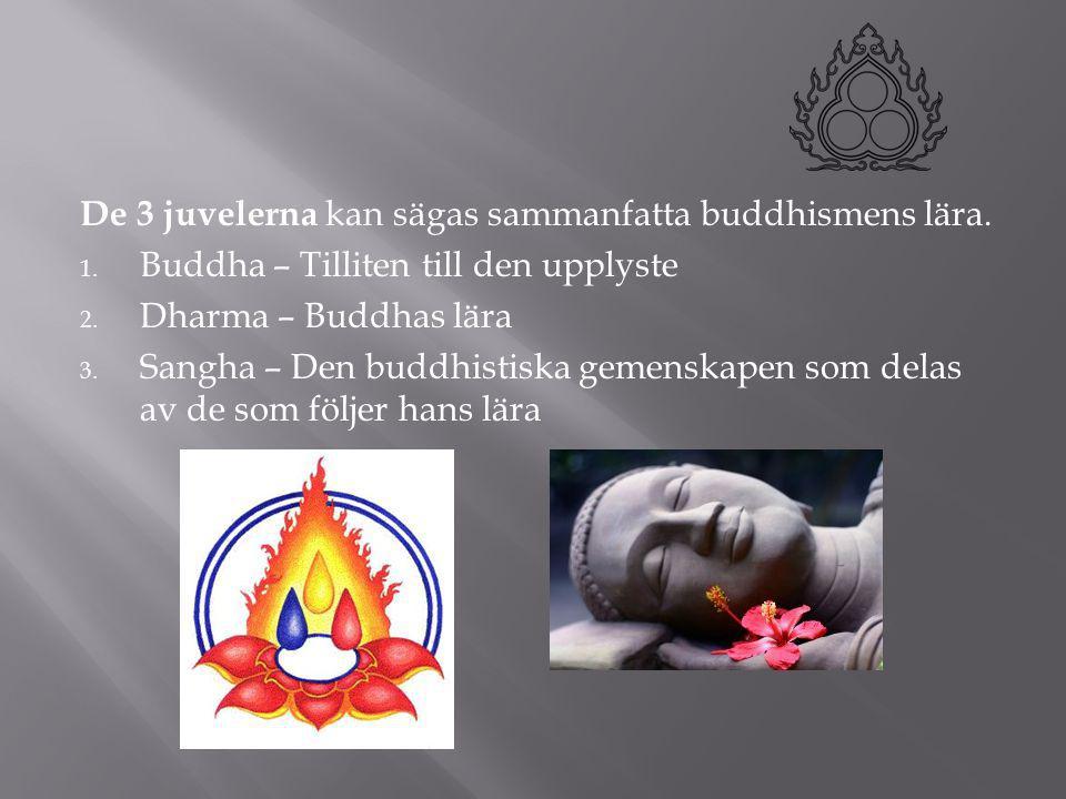 De 3 juvelerna kan sägas sammanfatta buddhismens lära. 1. Buddha – Tilliten till den upplyste 2. Dharma – Buddhas lära 3. Sangha – Den buddhistiska ge