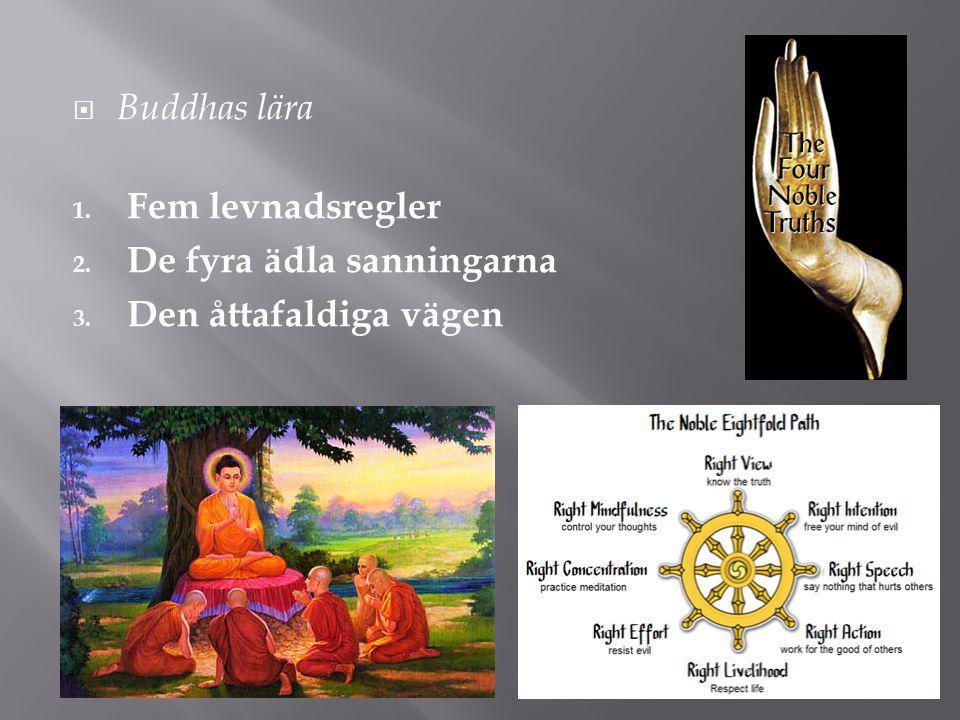  Buddhas lära 1. Fem levnadsregler 2. De fyra ädla sanningarna 3. Den åttafaldiga vägen