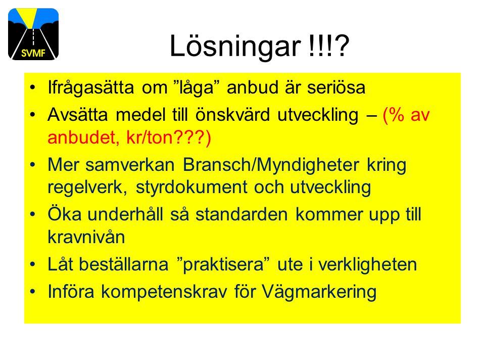 """Lösningar !!!? Ifrågasätta om """"låga"""" anbud är seriösa Avsätta medel till önskvärd utveckling – (% av anbudet, kr/ton???) Mer samverkan Bransch/Myndigh"""