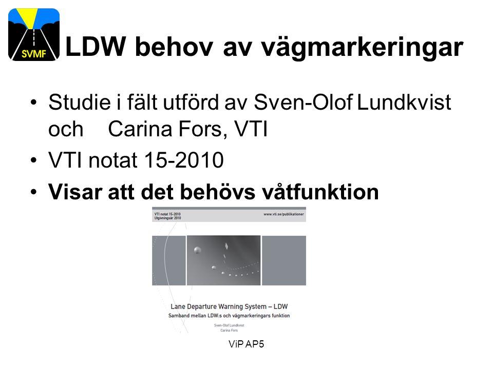 LDW behov av vägmarkeringar Studie i fält utförd av Sven-Olof Lundkvist och Carina Fors, VTI VTI notat 15-2010 Visar att det behövs våtfunktion ViP AP