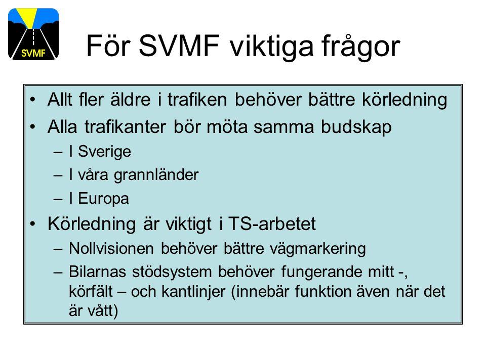 För SVMF viktiga frågor Allt fler äldre i trafiken behöver bättre körledning Alla trafikanter bör möta samma budskap –I Sverige –I våra grannländer –I