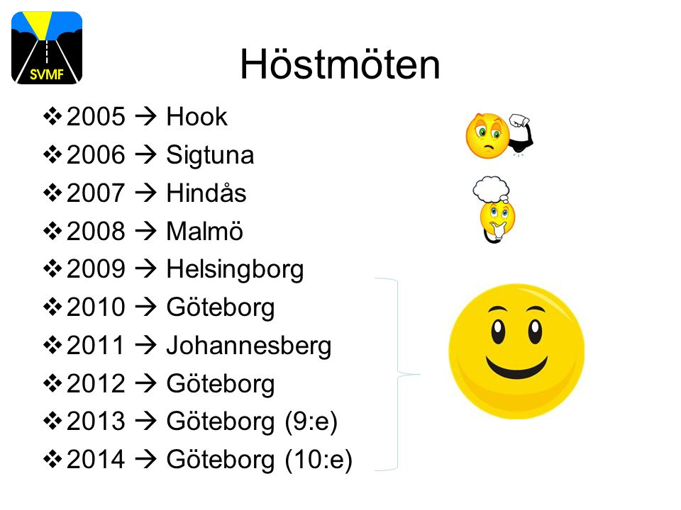Höstmöten  2005  Hook  2006  Sigtuna  2007  Hindås  2008  Malmö  2009  Helsingborg  2010  Göteborg  2011  Johannesberg  2012  Göteborg