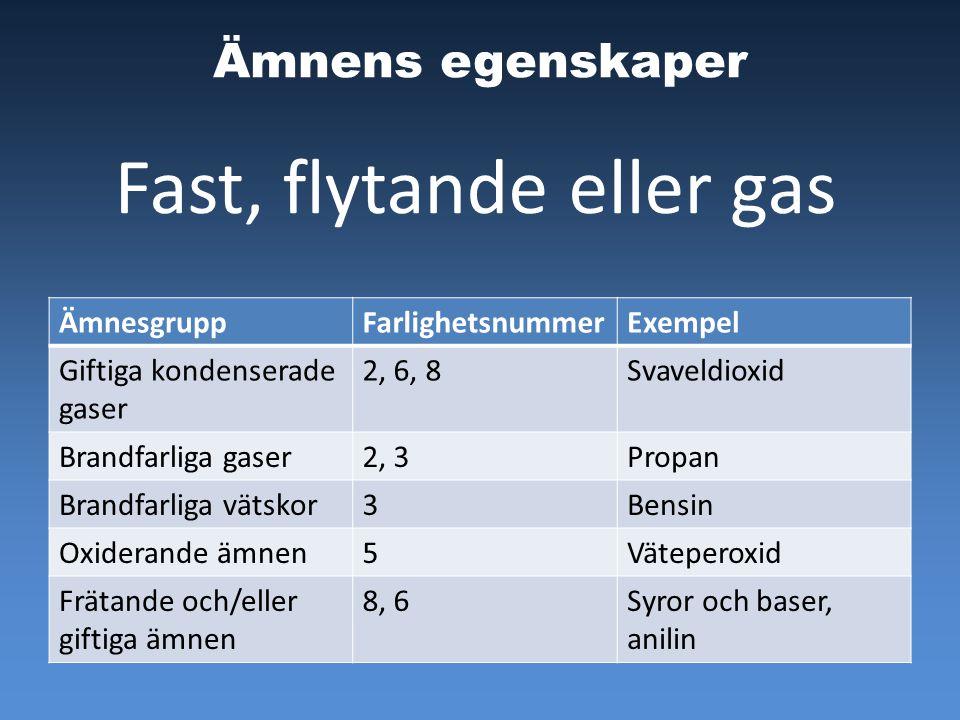 Ämnens egenskaper ÄmnesgruppFarlighetsnummerExempel Giftiga kondenserade gaser 2, 6, 8Svaveldioxid Brandfarliga gaser2, 3Propan Brandfarliga vätskor3Bensin Oxiderande ämnen5Väteperoxid Frätande och/eller giftiga ämnen 8, 6Syror och baser, anilin Fast, flytande eller gas
