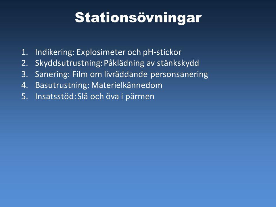 Stationsövningar 1.Indikering: Explosimeter och pH-stickor 2.Skyddsutrustning: Påklädning av stänkskydd 3.Sanering: Film om livräddande personsanering