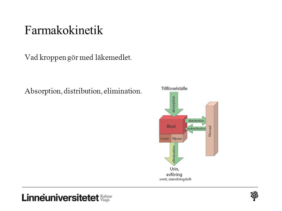 Elimination via njurarna Filtration Aktiv sekretion Reabsorption särskilt av fettlösliga ämnen