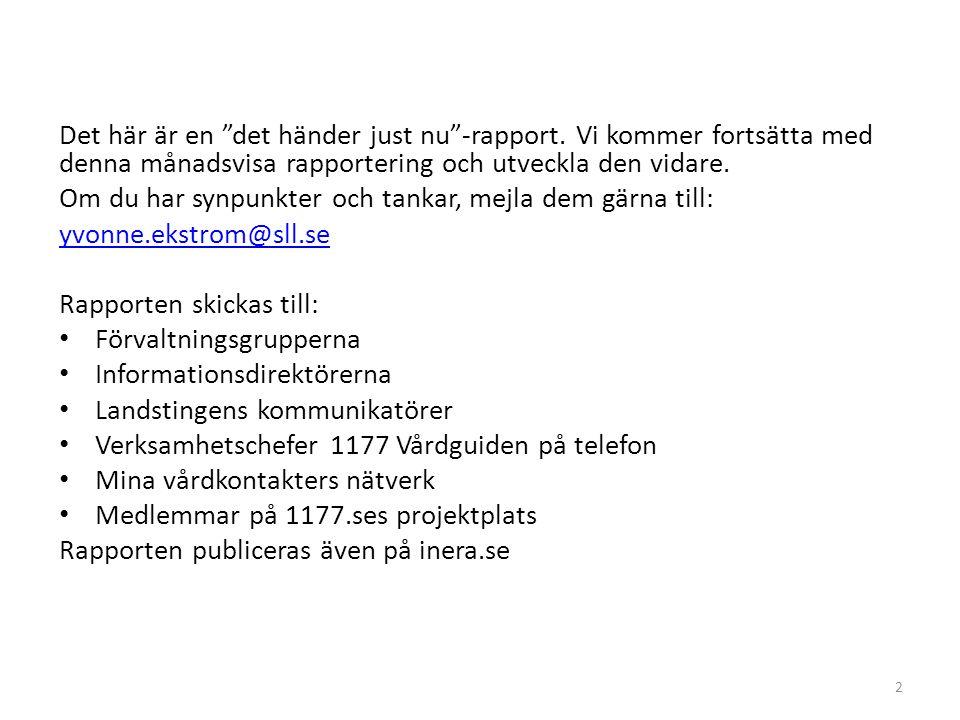 1177 Vårdguiden på Mynewsdesk: 1/1 2013 – 1/9 2014 43