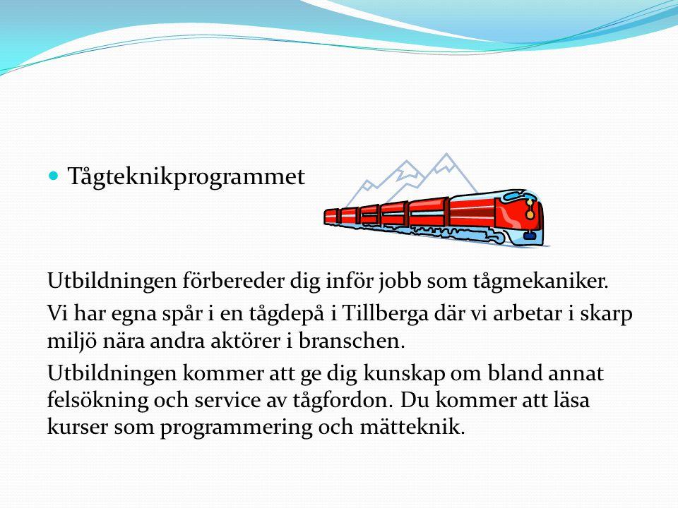 Tågteknikprogrammet Utbildningen förbereder dig inför jobb som tågmekaniker.