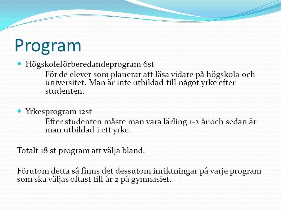Program Högskoleförberedandeprogram 6st För de elever som planerar att läsa vidare på högskola och universitet.