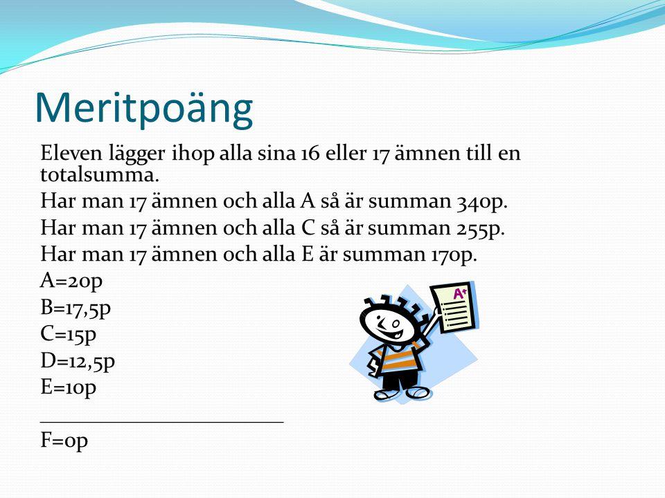 Meritpoäng Eleven lägger ihop alla sina 16 eller 17 ämnen till en totalsumma.