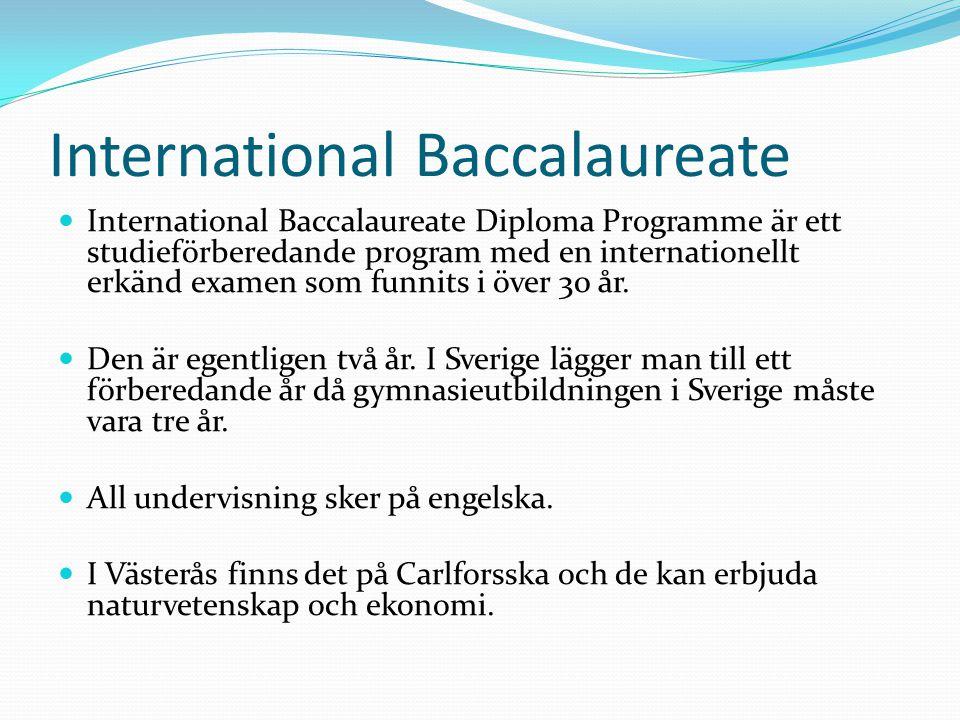 International Baccalaureate International Baccalaureate Diploma Programme är ett studieförberedande program med en internationellt erkänd examen som funnits i över 30 år.
