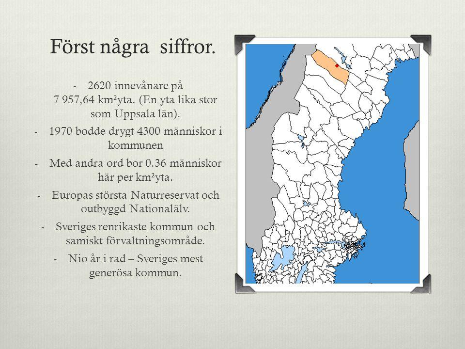 Först några siffror. - 2620 innevånare på 7 957,64 km²yta.