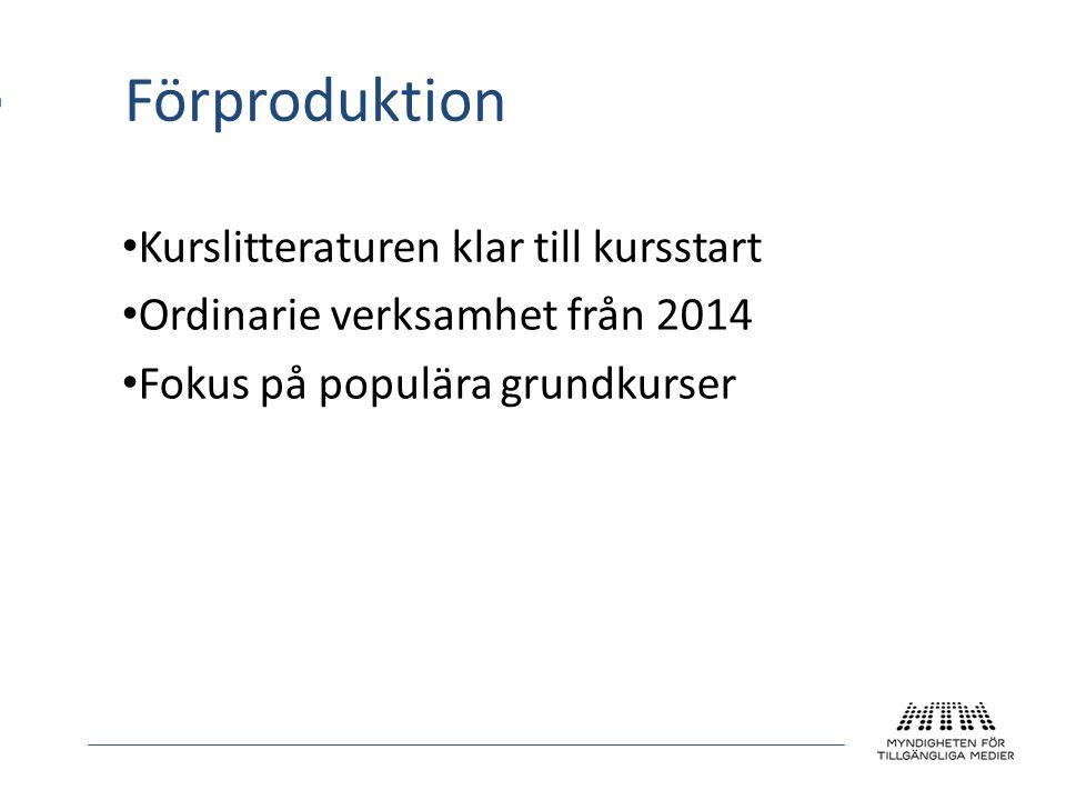 Förproduktion Kurslitteraturen klar till kursstart Ordinarie verksamhet från 2014 Fokus på populära grundkurser
