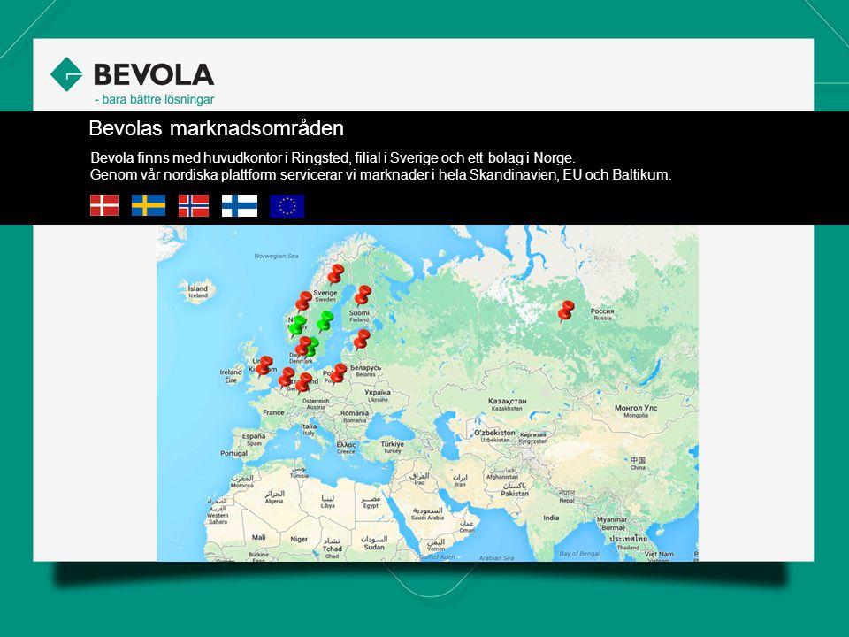 Bevolas marknadsområden Bevola finns med huvudkontor i Ringsted, filial i Sverige och ett bolag i Norge.