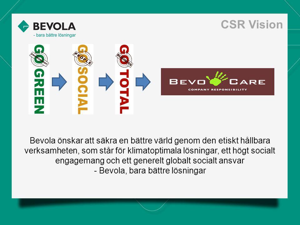 Bevola önskar att säkra en bättre värld genom den etiskt hållbara verksamheten, som står för klimatoptimala lösningar, ett högt socialt engagemang och ett generelt globalt socialt ansvar - Bevola, bara bättre lösningar CSR Vision