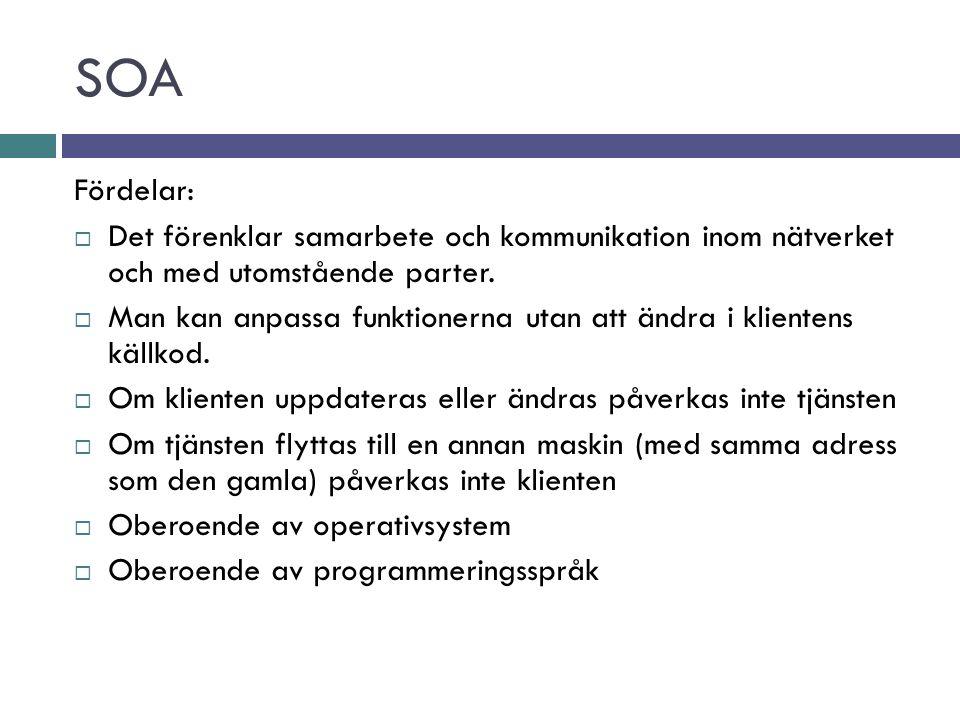 SOA Fördelar:  Det förenklar samarbete och kommunikation inom nätverket och med utomstående parter.