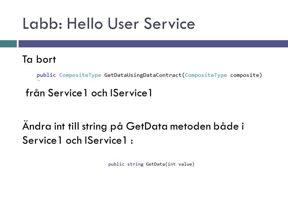 Labb: Hello User Service Ta bort från Service1 och IService1 Ändra int till string på GetData metoden både i Service1 och IService1 :